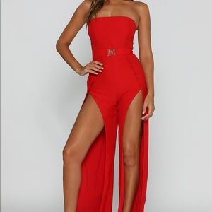 NEVER WORN Meshki Red Strapless Jumpsuit